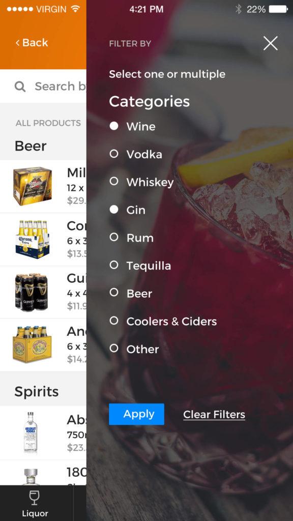 Designated Delivery app screenshot - filter menu