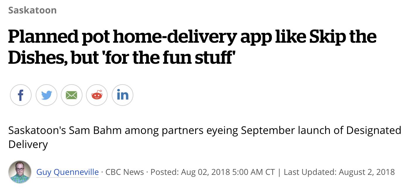 Pot delivery app headline